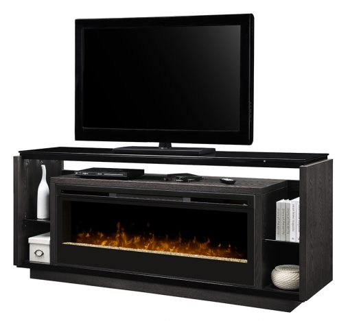 David Media Console Glass Ember Bed