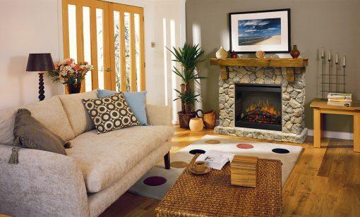 Fieldstone Mantel Electric Fireplace-1