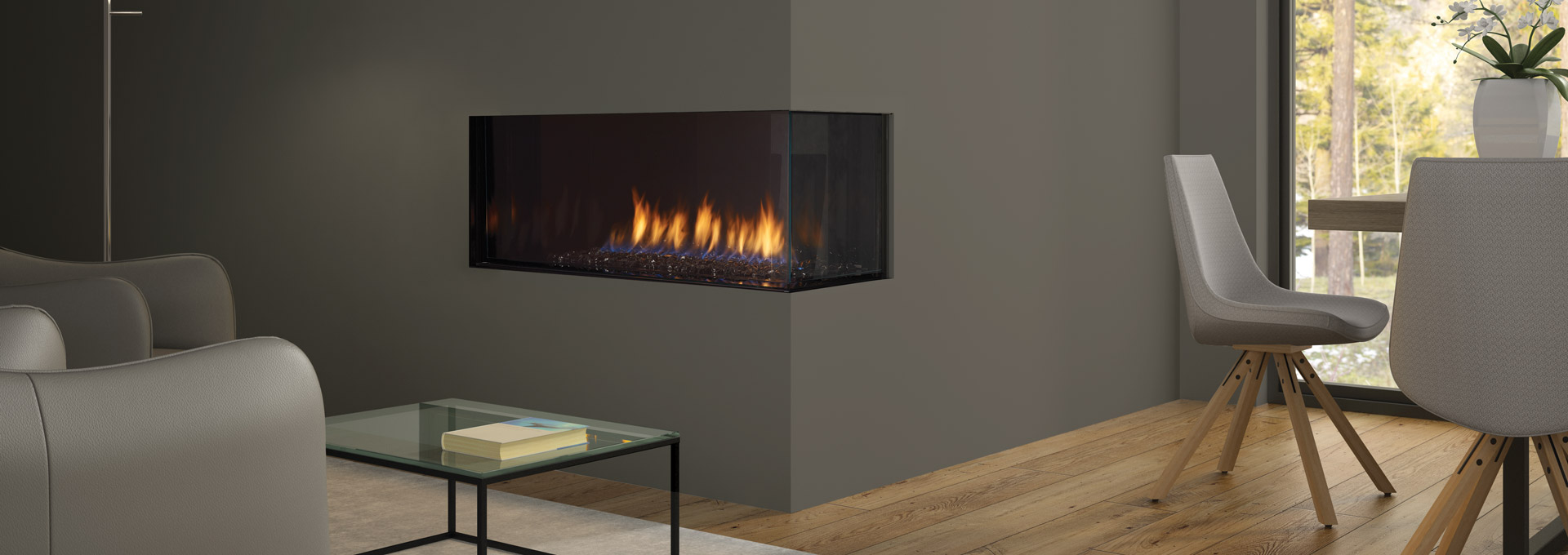 Regency city series chicago corner 40re modern gas for Modern gas fireplace price