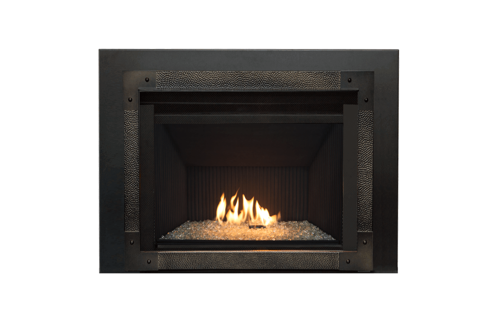 Decorative Glass, Fluted Black Liner, Edgemont Hammered Front in Oiled Bronze and 3-Sided Trim Kit