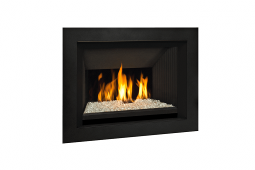 Decorative Glass and 4 Sided Surround in Black