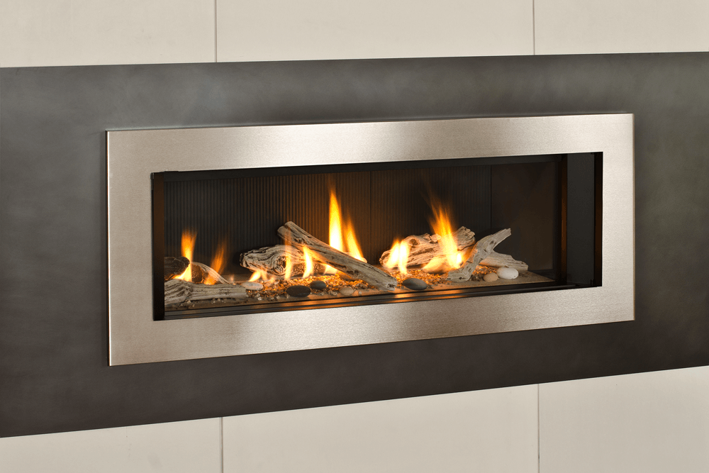 Zero Clearance Valor L2 Linear Series Gas Fireplace Driftwood Fluted Black Liner 1
