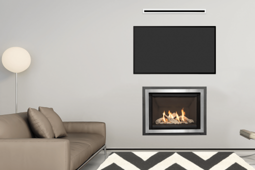 Driftwood, Plain Black Liner, Edgemont Front in Brushed Nickel and the Valor HeatShift System