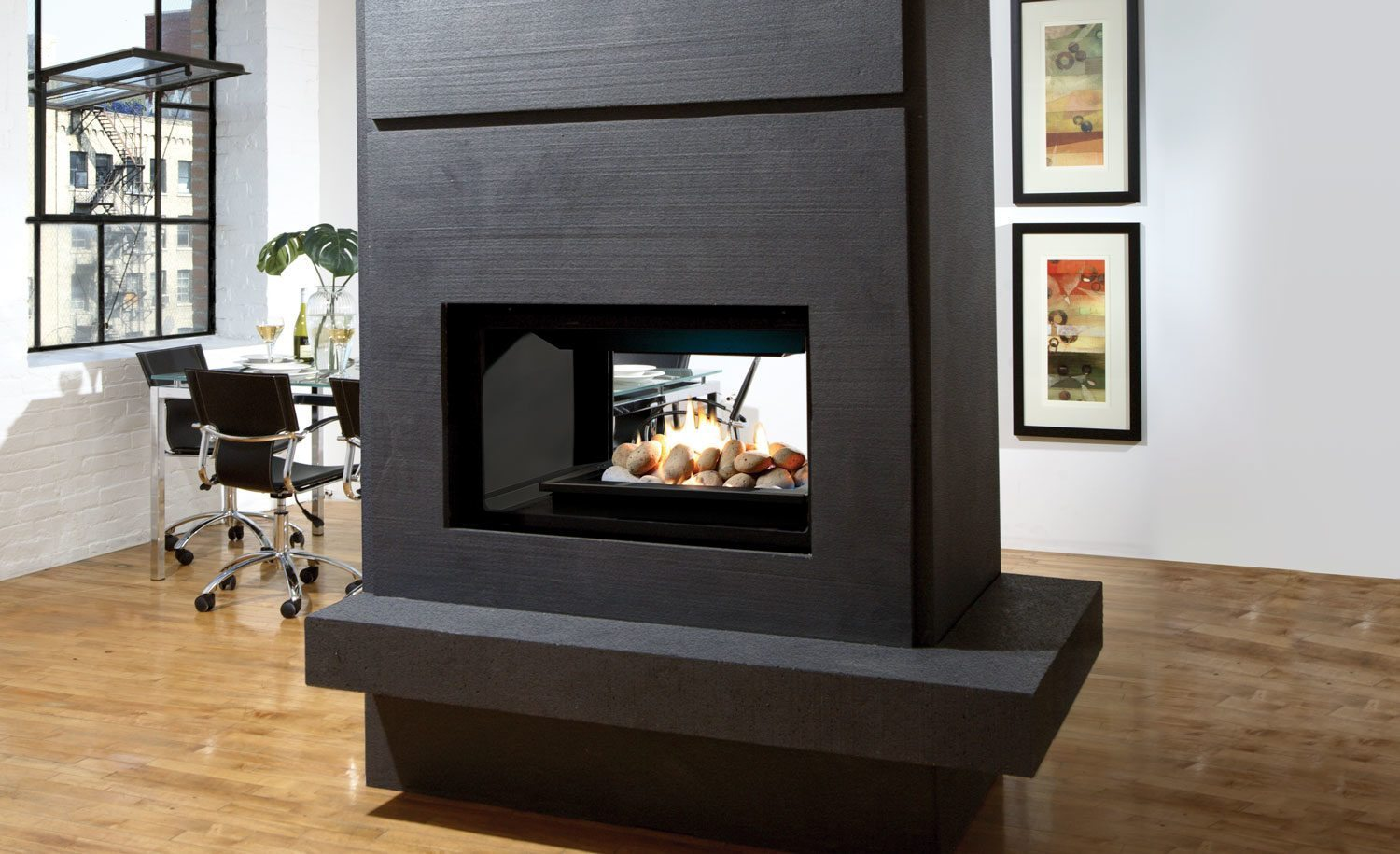 Marquis Gemini Direct Vent See Through Gas Fireplace