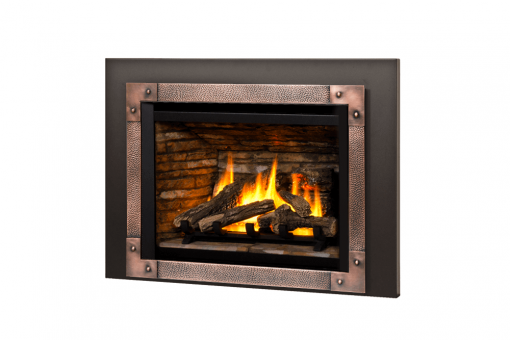 Logs, Ledgestone Liner, Edgemont Hammered Front in Copper and 3-Sided Trim Kit