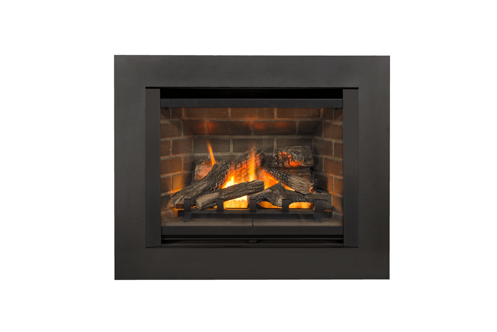 Logs, Red Brick Liner and Floating 4-Sided Trim Kit in Black