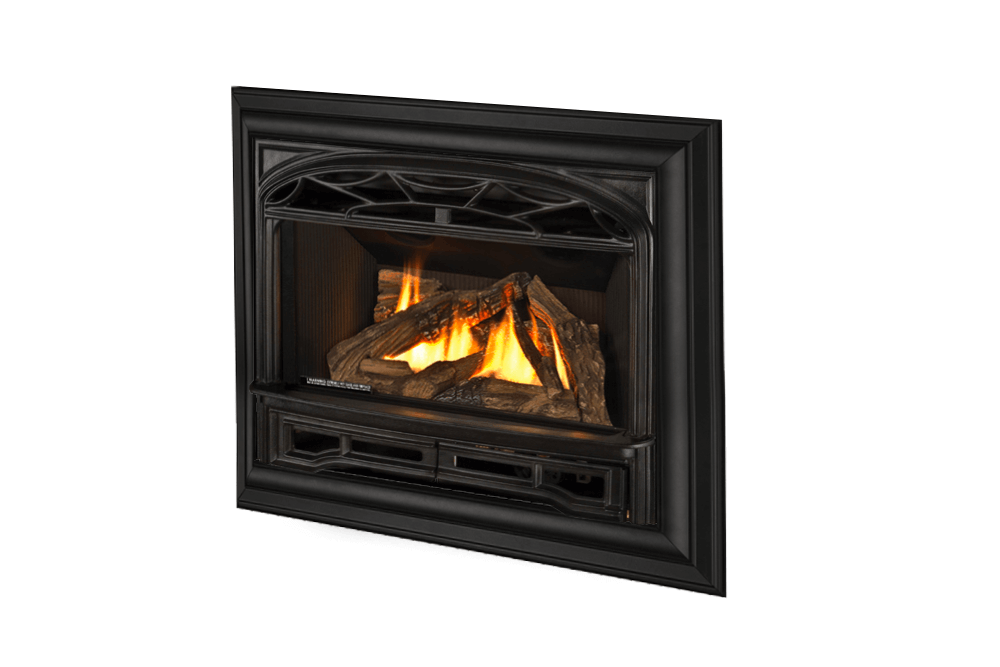 Logs, Traditional Cast Front and 4-Sided Deluxe Trim Kit in Black