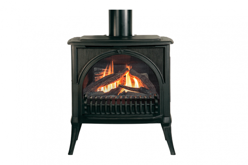 Madrona Arched Front in Black shown with Logs
