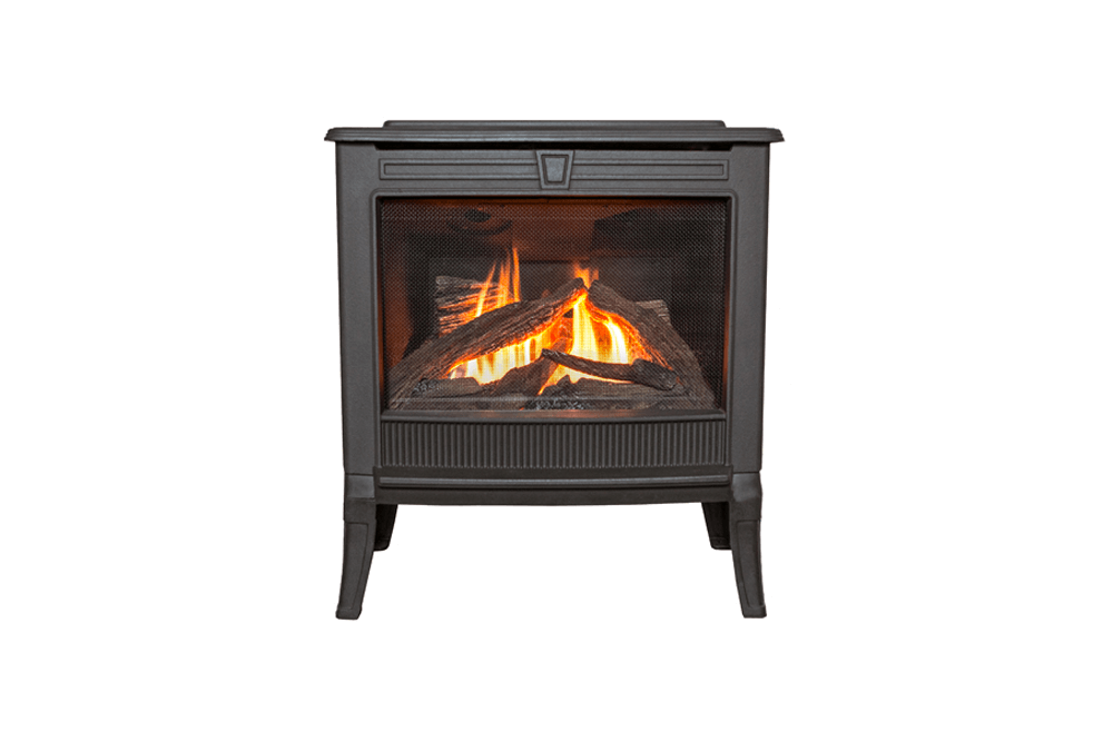 free standing stove. Madrona Square Front In Black Shown With Logs Free Standing Stove