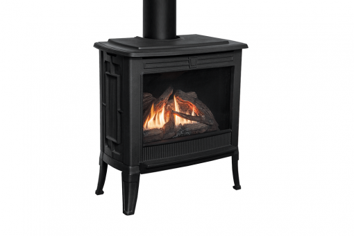 Madrona Square Front in Black shown with Logs -1