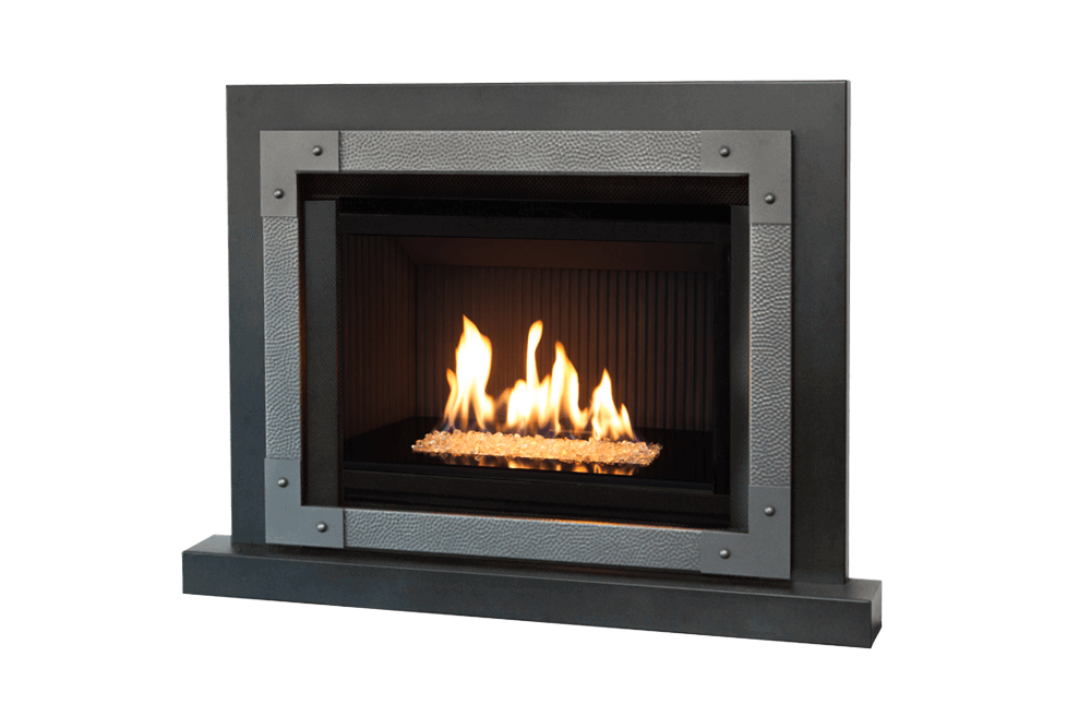 Murano Glass, Fluted Black Liner, Edgemont Hammered Front in Vintage Iron, 3-Sided Trim and Riser