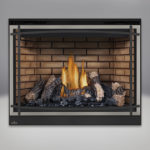 PHAZER™ Log Set, Decorative Sandstone Brick Panels, Classic Resolution Front with Overlay in Brushed Nickel, with Black Curved Accent Bars, Standard Safety Screen