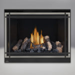 PHAZER™ Log Set, MIRRO-FLAME™ Porcelain Reflective Radiant Panels, Classic Resolution Front with Overlay in Brushed Nickel, with Black Straight Accent Bars, Standard Safety Screen