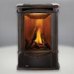 Porcelain Enamel Majolica Brown Finish, PHAZER® Logs, Sandstone Brick:Stone Panel and built-in NIGHT LIGHT™, Standard Safety Screen