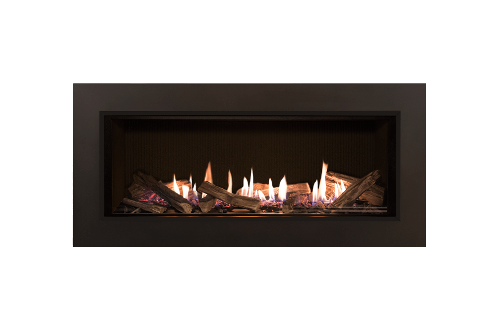 Splitwood Logs, Fluted Black Liner and 3-1:2 Inch Trim in Bronze