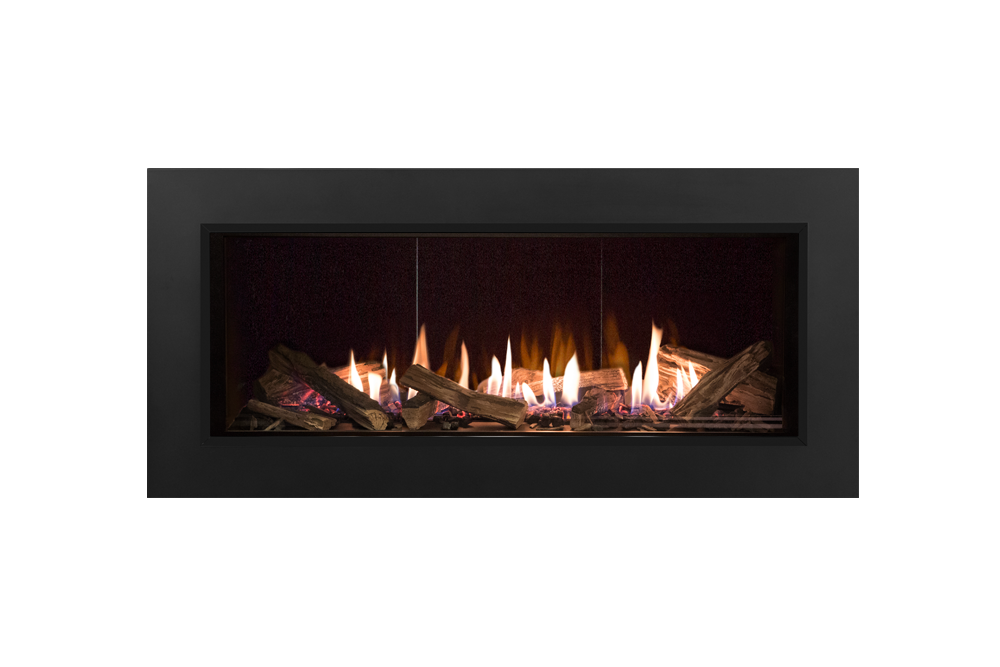 Splitwood Logs, Reflective Glass Liner and 3-1:2 Inch Trim in Black -1