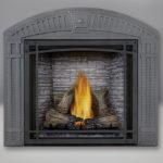 TALL FLAME PHAZER® Log Set, Custom Blend LEDGEROCK, Decorative Front, Arched Surround