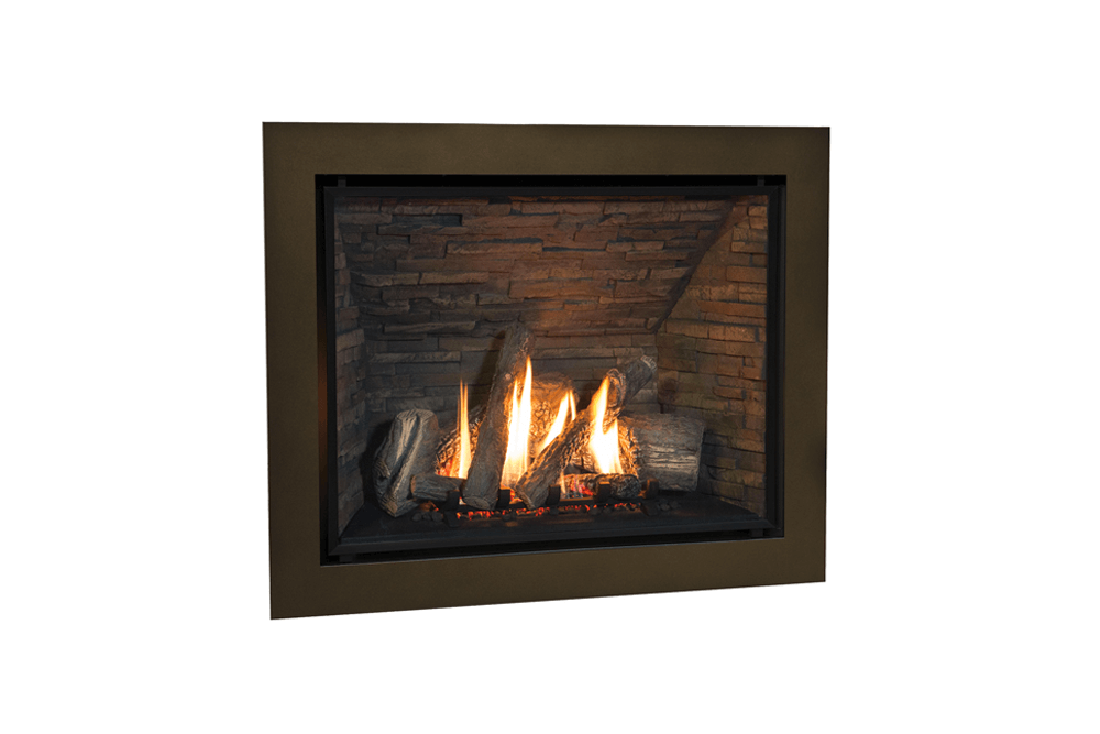 Traditional Logs, Fluted Black Liner and 4 Sided Front in Bronze