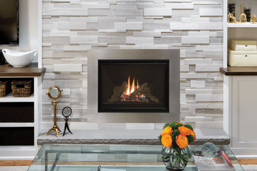 Traditional Logs, Fluted Black Liner and 4 inch 4-Sided Trim Kit in Plated Brushed Nickel