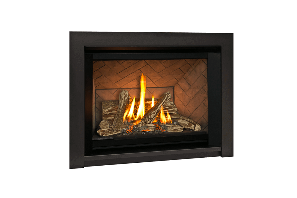 Traditional Logs, Herringbone Liner and 3 Sided Surround in Black