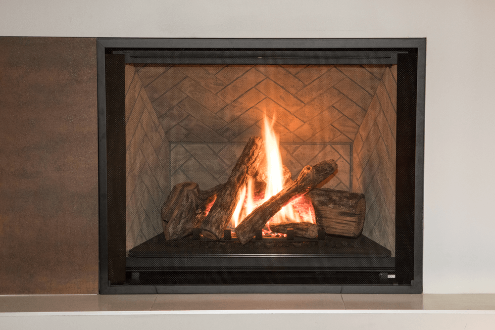 Traditional Logs, Herringbone liner and 1 Inch Fixed Frame