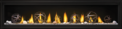 Napoleon Luxuria™ Series Direct Vent Gas Fireplace-LVX74-WroughtIronGlobes-on-ShoreFire