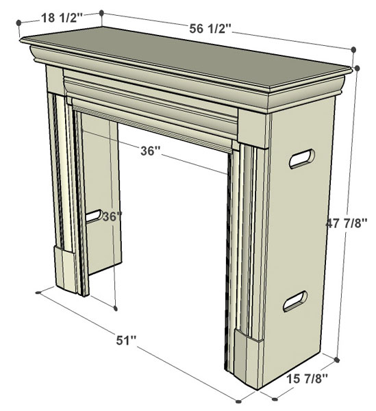 Specification Fires of Tradition Kingston Wood Mantels - Cabinet
