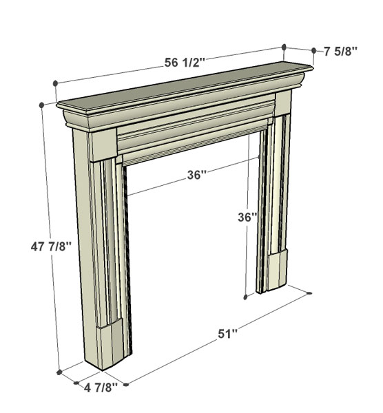 Specification Fires of Tradition Kingston Wood Mantels