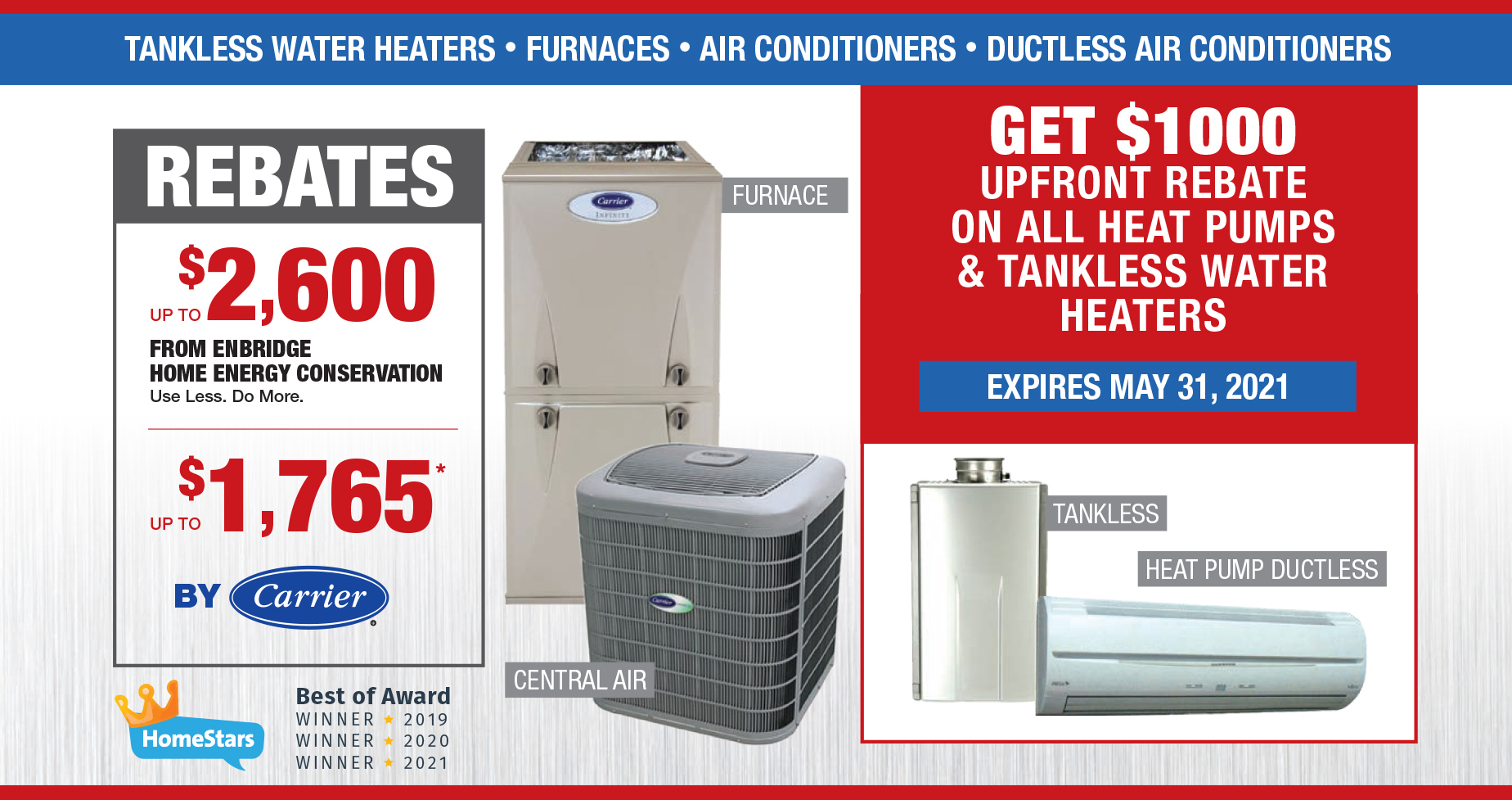 Rabate on all heat pumps and tankless water heaters-1