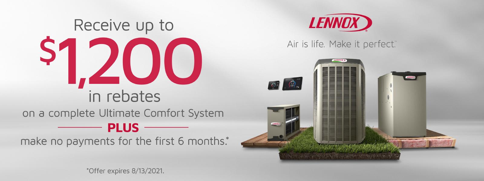 Lennox rebate up to $1,200